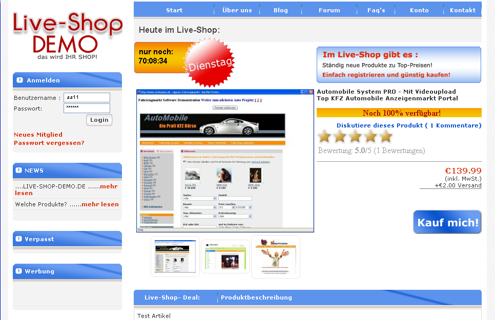 PHP Script Live Shopping System
