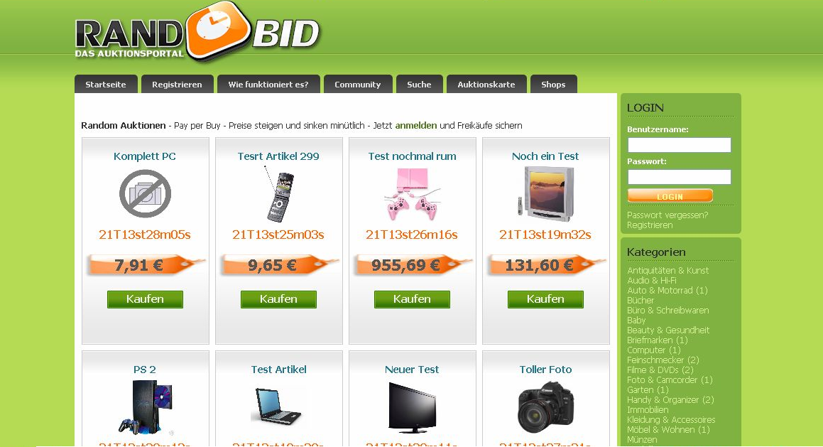 Rando Bid Auktions System - Pay per Buy